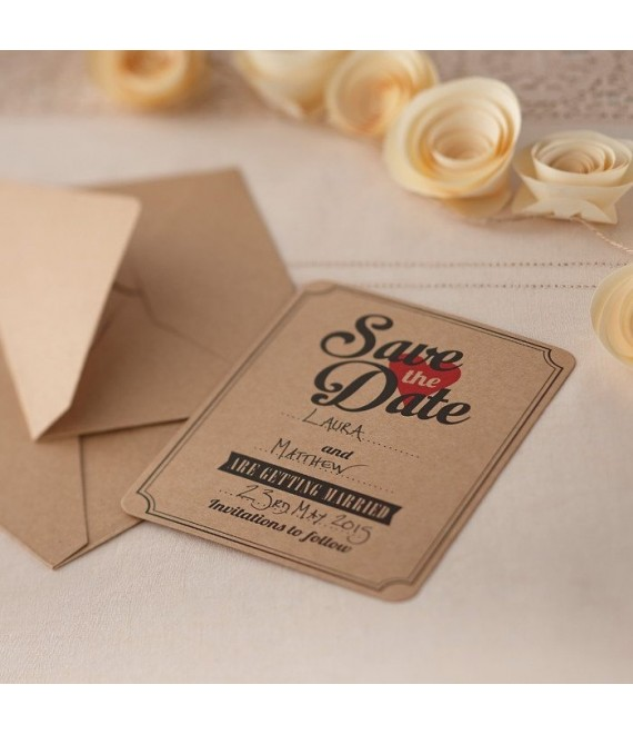 Save the Date Karten Kraft (10 Stück) - Vintage Affair 1 - The Beautiful Bride Shop