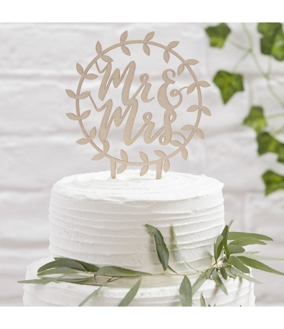 "BB-260 Cake Topper aus Holz ""Mr & Mrs""  1 - The Beautiful Bride Shop"