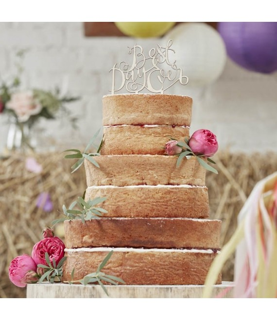 "BB-725 Cake Topper aus Holz ""Best Day Ever""  - The Beautiful Bride Shop"