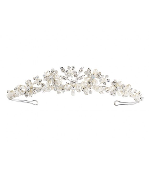 Perlen Tiara 03-375-SV - The Beautiful Bride Shop