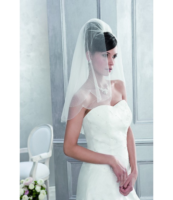 Emmerling Veil 10083-Ivory-one layer - 150 x 65 cm