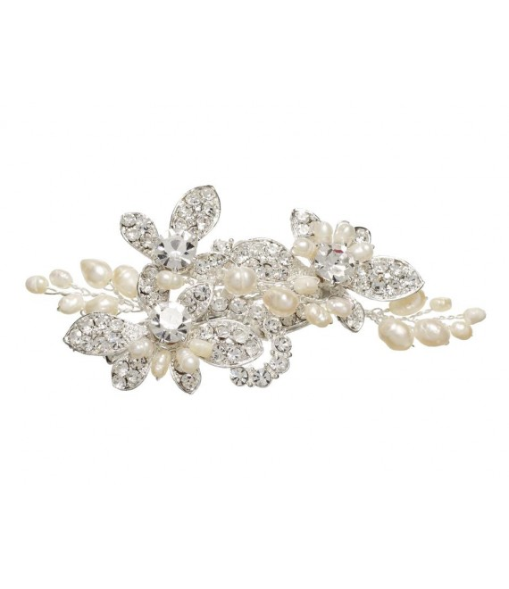 Lilly Haarspange mit Perlen und Strass (03-394-SV-0) - The Beautiful Bride Shop