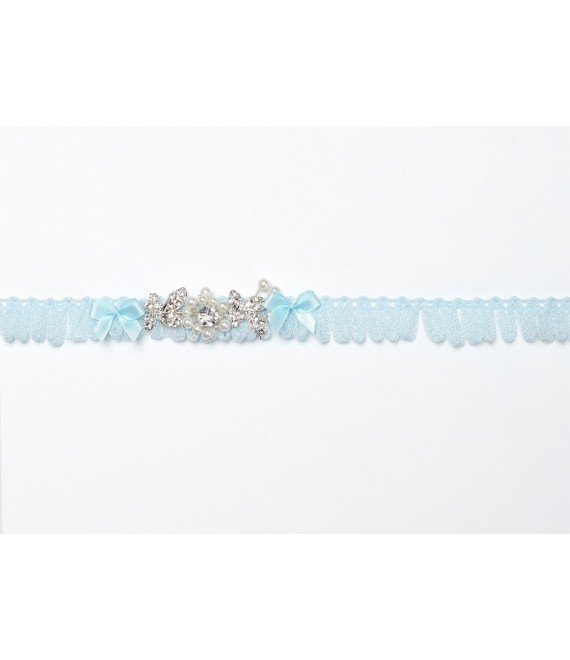 Strumpfband (Blau) mit Ornament KB-28 Poirier - The Beautiful Bride Shop