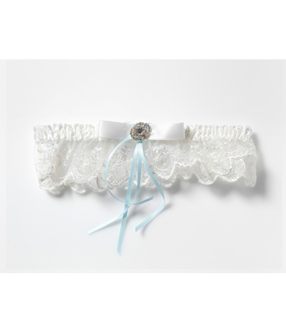 Strumpfband aus Spitze mit Strass-Accessoire KB-70 Poirier - The Beautiful Bride Shop