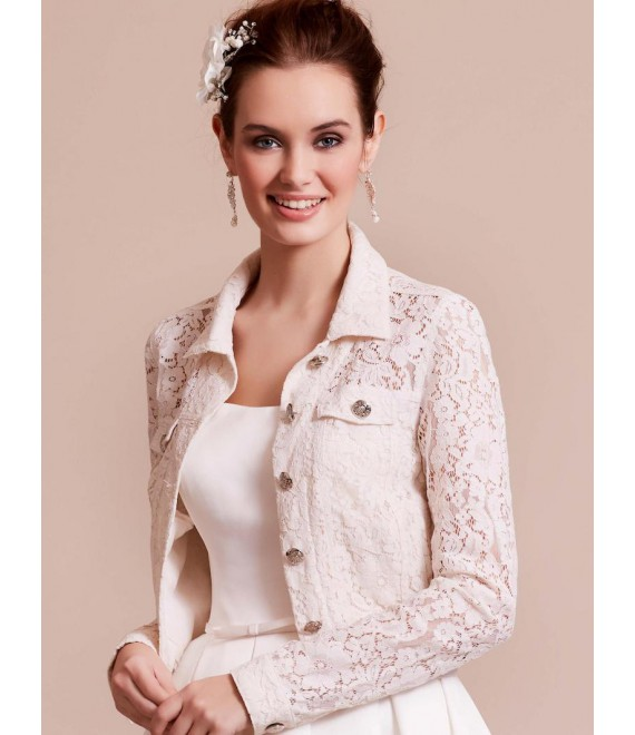Traumhafter Jacke aus Spitze 09-3801-CR Lilly - The Beautiful Bride Shop