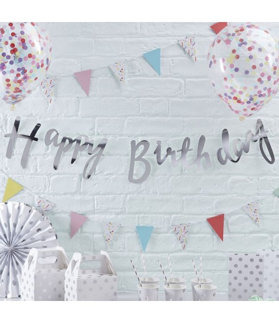 Silber Happy Birthday Bunting | Pick and Mix