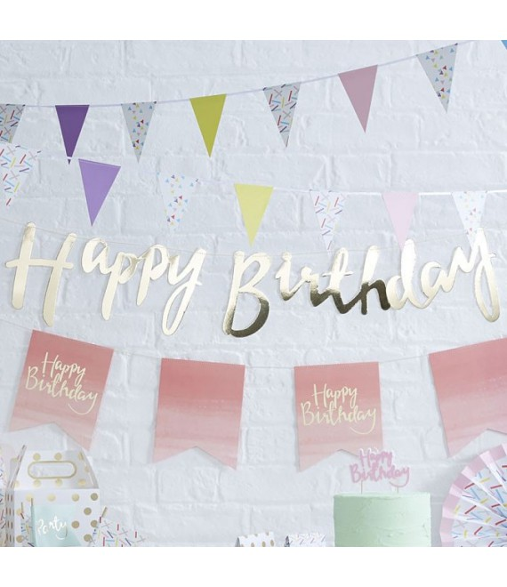 Gold Happy Birthday Girlande | Pick and Mix