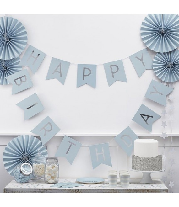Blau Happy Birthday Girlande | Pastel Perfection