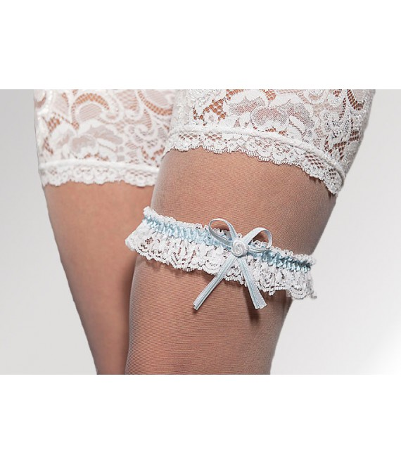 Strumpfband Weiß mit Blau - The Beautiful Bride Shop