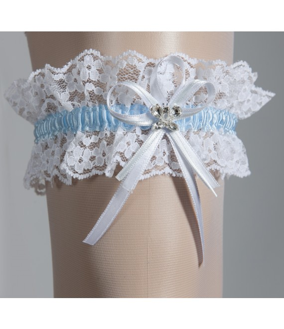 Strumpfband Creme (Ivory) mit Blau - The Beautiful Bride Shop