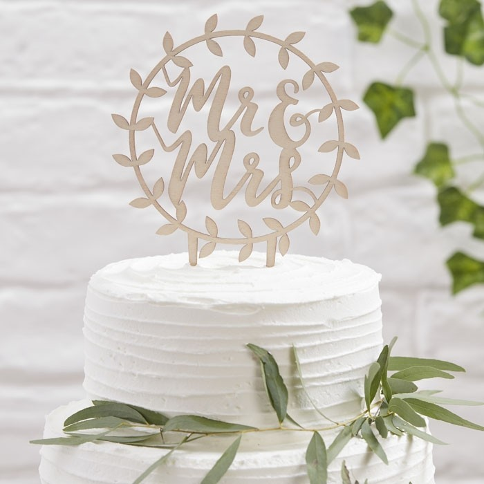 Cake Topper Aus Holz Mr Mrs Rund Beautiful Botanics