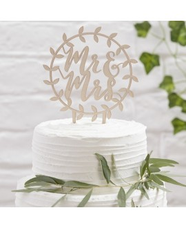 "Cake Topper aus Holz ""Mr & Mrs"", rund - Beautiful Botanics"