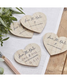 "Save- The- Date Magneten ""Holzherzen"" (10 St.) – Beautiful Botanics"