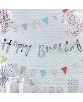Silber Happy Birthday Girlande| Pick & Mix