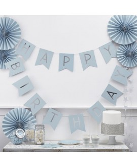 Blau Happy Birthday Girlande| Pastel Perfection